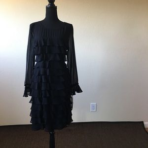 Karl Lagerfeld Chiffon black ruffled dress NWT